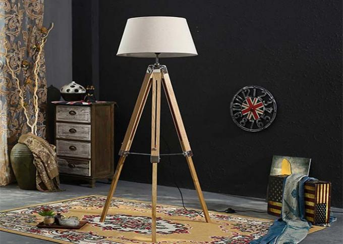 Portable Floor Standing LED Lights Antique Wooden Tripod With Black Cover