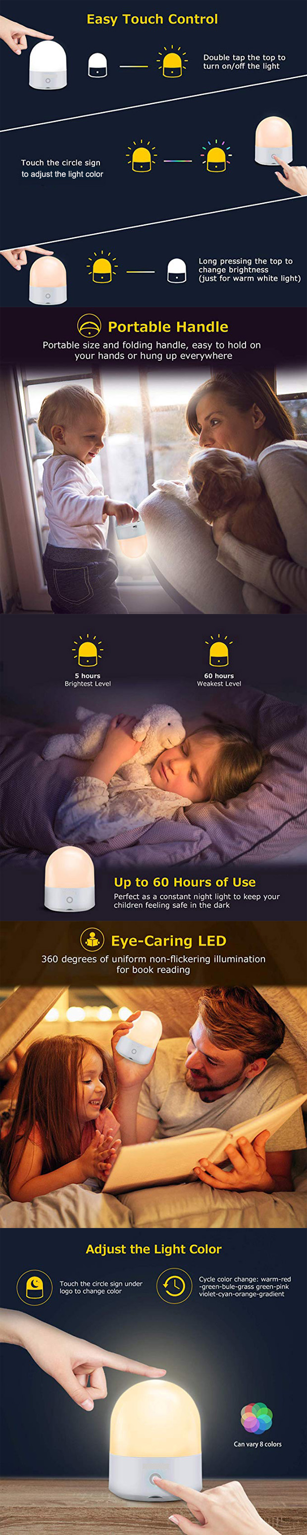 Portable Hallway Night Light USB Rechargable Touch Control Customized Color
