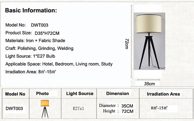 Simple Study Room Led Bedside Lamp , Creative Personality Iron Black Bracket Tripod Table Lamp