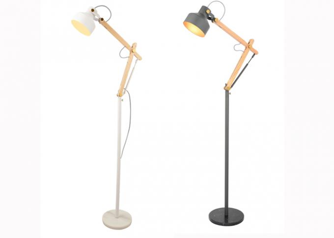 Ash Solid Wodden Arm Foldable Floor Standing LED Lights With Metal Shade / Bedroom Floor Lamps