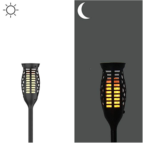 ABS Polysilicon Wireless LED Solar Torch Light Flickering Flame 2200k Energy Saving