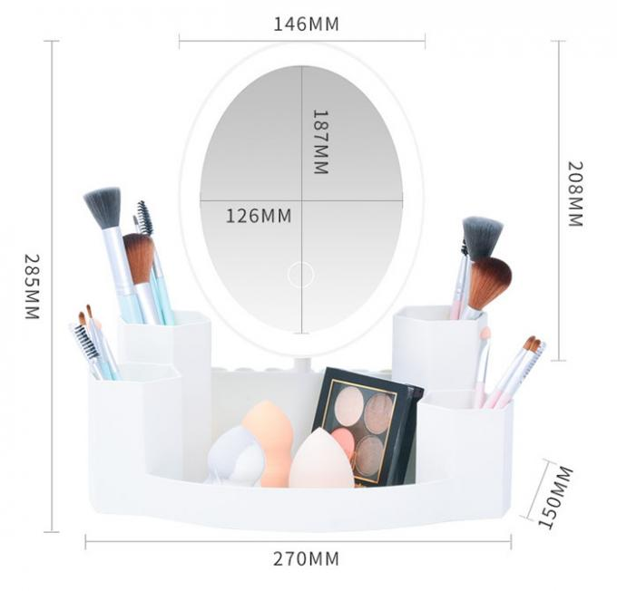 Countertop LED Cosmetic Mirror With Touch Screen / Storage Box / USB Power Supply