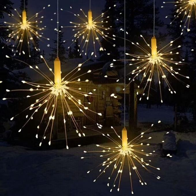 Yard Pathway Solar Operated Fireworks Lights With 120 LEDs Warm White