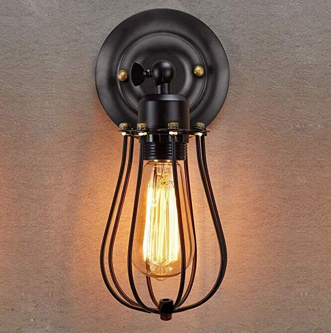 Dimmable Metal Vintage Edison Rustic Wall Lights For Headboard Bedroom