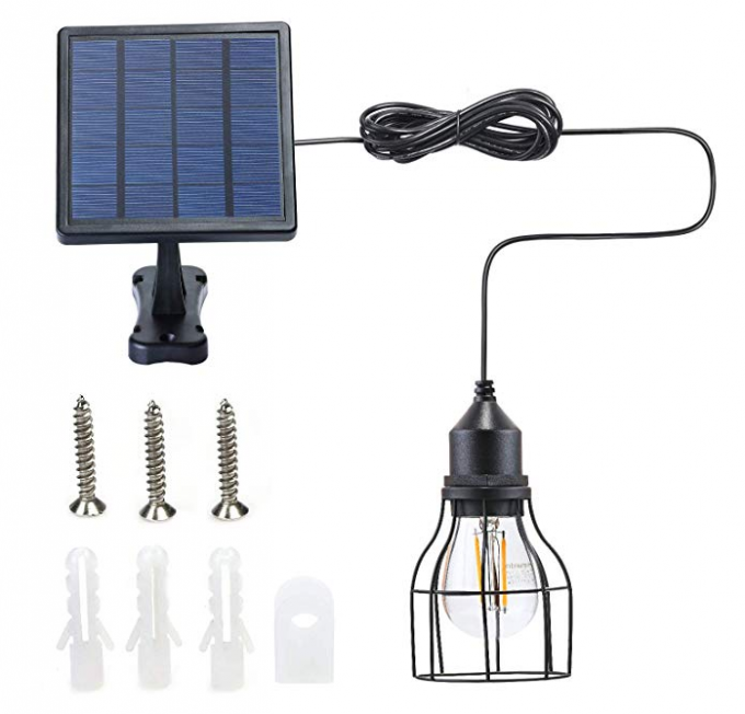 Outdoor Solar Powered Shed Pendant Lamp Vintage Hanging Edison Bulb Barn Light For Garden Porch Umbrella