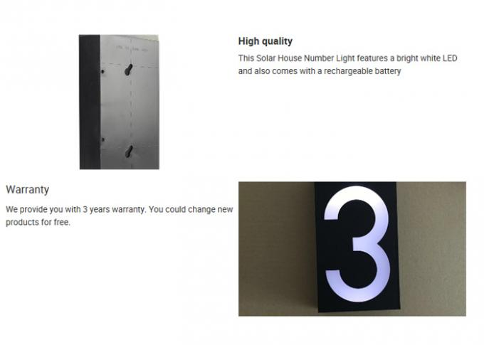 Long Lifespan Decorative Solar Lights IP65 LED House Number Sign 0-9 Light