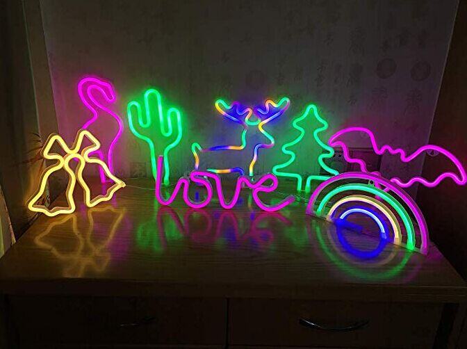 Christmas Tree Wall Decor Neon Sign For Party Room Decoration Green WW Pink Color