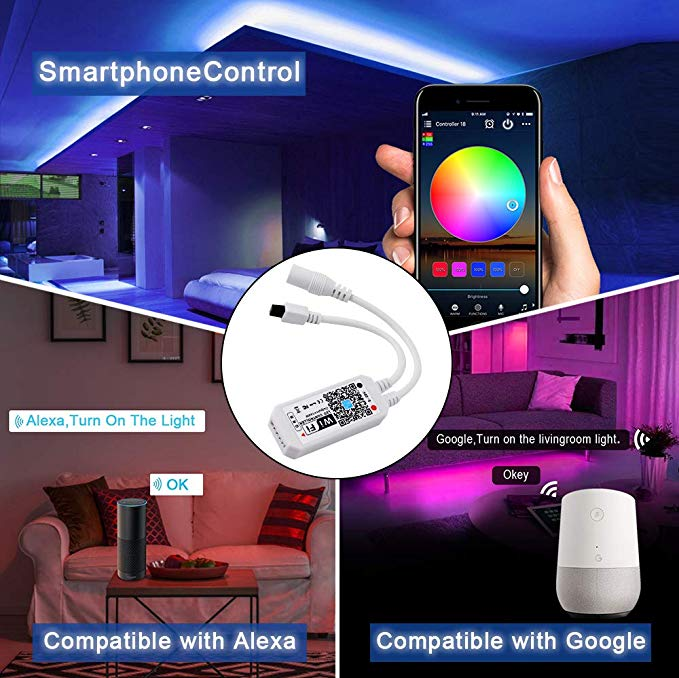 Rohs CE RGB Strip Light Compatible With Alexa / Google Assistant RGB 5050 16.4FT