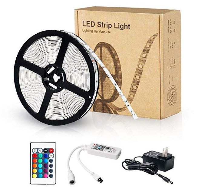 RGB LED Flexible Strip Lights With WiFi Controller / 24 Key Remote Controller