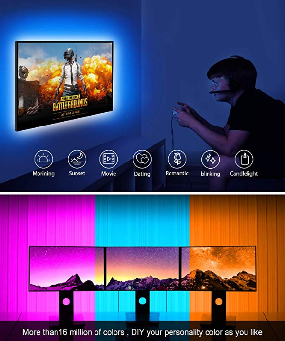 Dimmable LED Flexible Strip Lights For TV With APP RGB SMD5050 Linear Shape