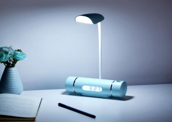 Music Clock LED Table Lamp, Mini Plug - In Changeable Screen Desk Reading Light