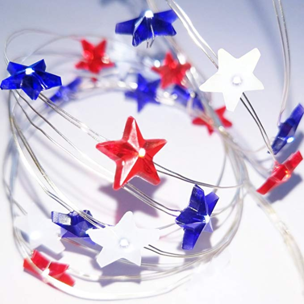 14FT Outdoor Led String Lights Patriotic Stars Red White Blue Remote Dimmer 8 Model Waterproof 40 LEDs