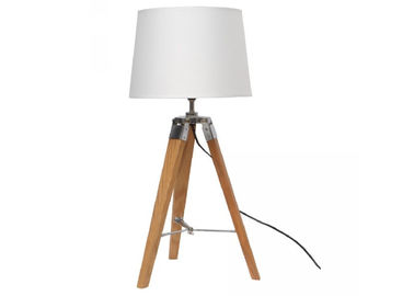 China E26 E27 Max 40 W LED Table Lamp Indoor Wooden Tripod Fabric Shade AC 120V supplier