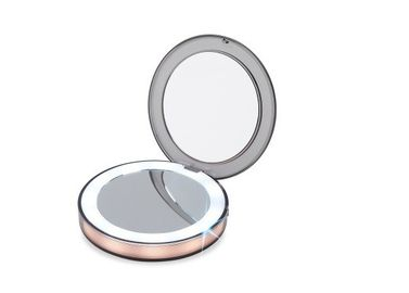 China Fold Customized LED Cosmetic Mirror 3X Magnification ABS + PC + GLASS Material supplier