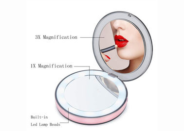 China ABS + PC + Glass Material Travel Makeup Mirrors With Lights Magnified supplier