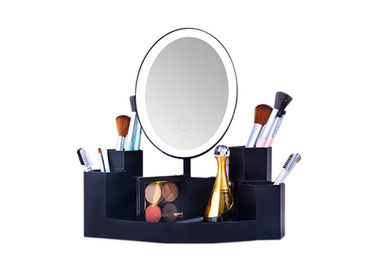 China Brightness Adjustable LED Vanity Makeup Mirror With Storage Base 180°Rotation supplier