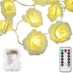 China 11.5FT White Rose 20 LED String Lights For Mother 'S Day Decoration supplier