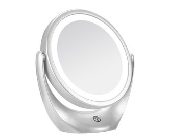 Double Sided Round Beauty Mirror With Base Touch Button , LED Table Makeup Mirror