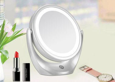 White Two Sided Magnifying Makeup Mirror 360 Degree Rotation CE ROHS FCC