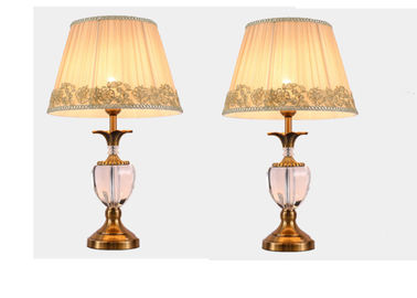 China Copper American Style Crystal Small LED Table Lamps For Living Room / Bedroom factory