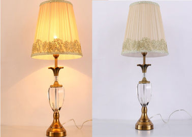 China Hollow Out Gold Lace Gauze Cover Crystal LED Table Lamp Size Φ 360 X H 600 mm factory